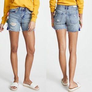 Blank NYC High Rise Distressed Tassel Shorts